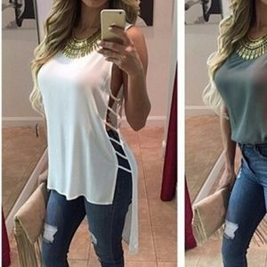 Women's Solid Loose Sheer Blouse